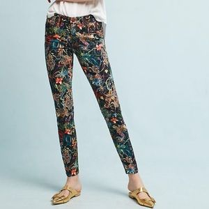 ANTHRO PILCRO FLORAL MIDRISE SKINNY 27 ANKLE JEANS